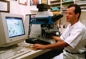 Univ.-Prof. Dr. Gerhard W. Hacker during computerized cytological DNA ploidy image analysis. (c) Univ.-Prof. Dr. Gerhard W. Hacker, Salzburg (2008).